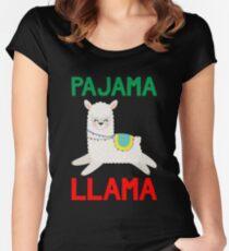 Pajama Llama - Cute & Funny Christmas Gift Llama Lover Llama Whisperer Gift Women's Fitted Scoop T-Shirt