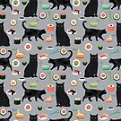 black cat sushi animal gifts by PetFriendly
