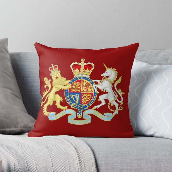 Royal Coat of Arms of the United Kingdom Throw Pillow