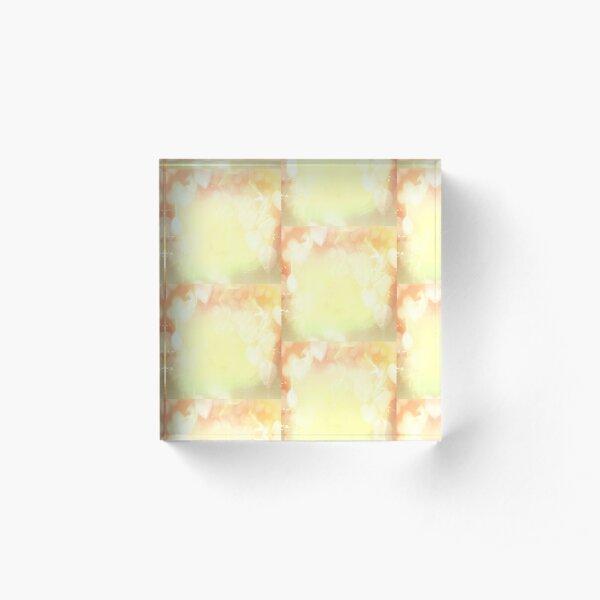 Yellow  crusty flames Pattern Acrylic Block