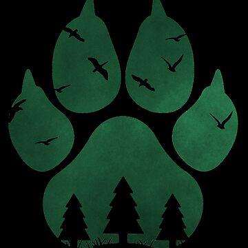 Paw Print Silhouette (Green) by LividRhythm