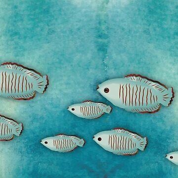 Tiny school of aqua fishies by Nettieliz