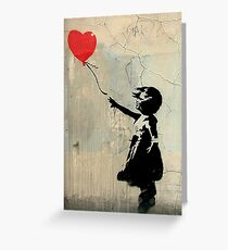 Banksy Red Heart Balloon Greeting Card