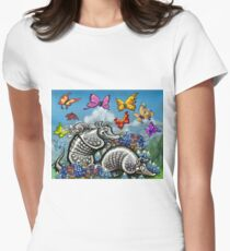 Armadillos Bluebonnets Wildflowers Butterflies Women's Fitted T-Shirt