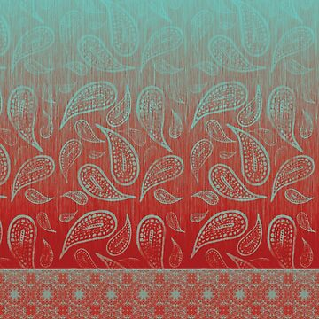 Teal Green and Warm Red Paisley Mandala Tile by jocelynsart