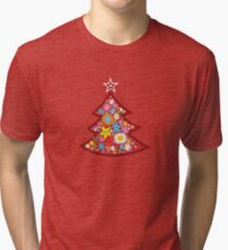 Spring Flowers Whimsical Christmas Tree Tri-blend T-Shirt
