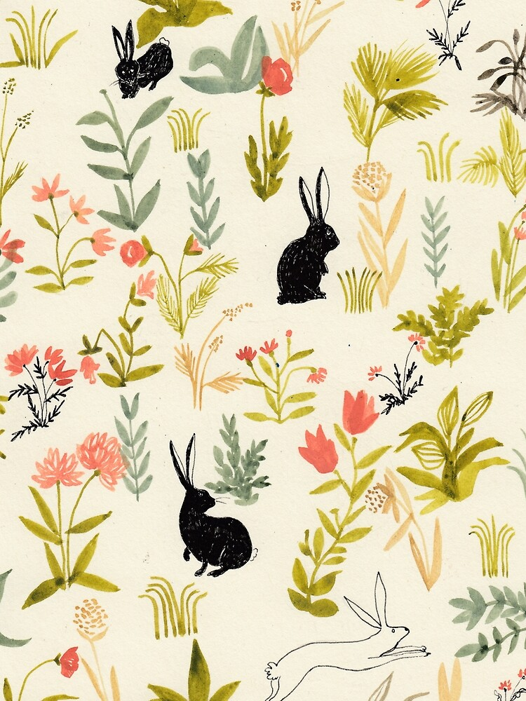 flowers pattern  with little black rabbits  by spoto