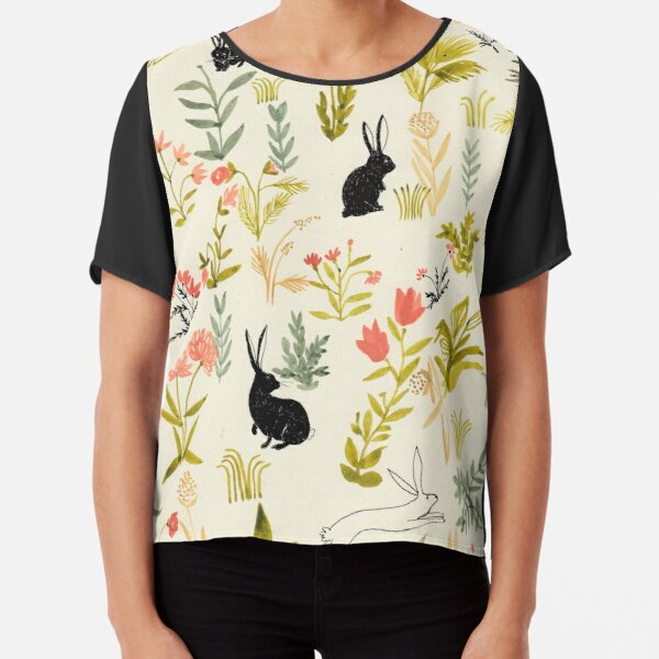 flowers pattern  with little black rabbits  Chiffon Top