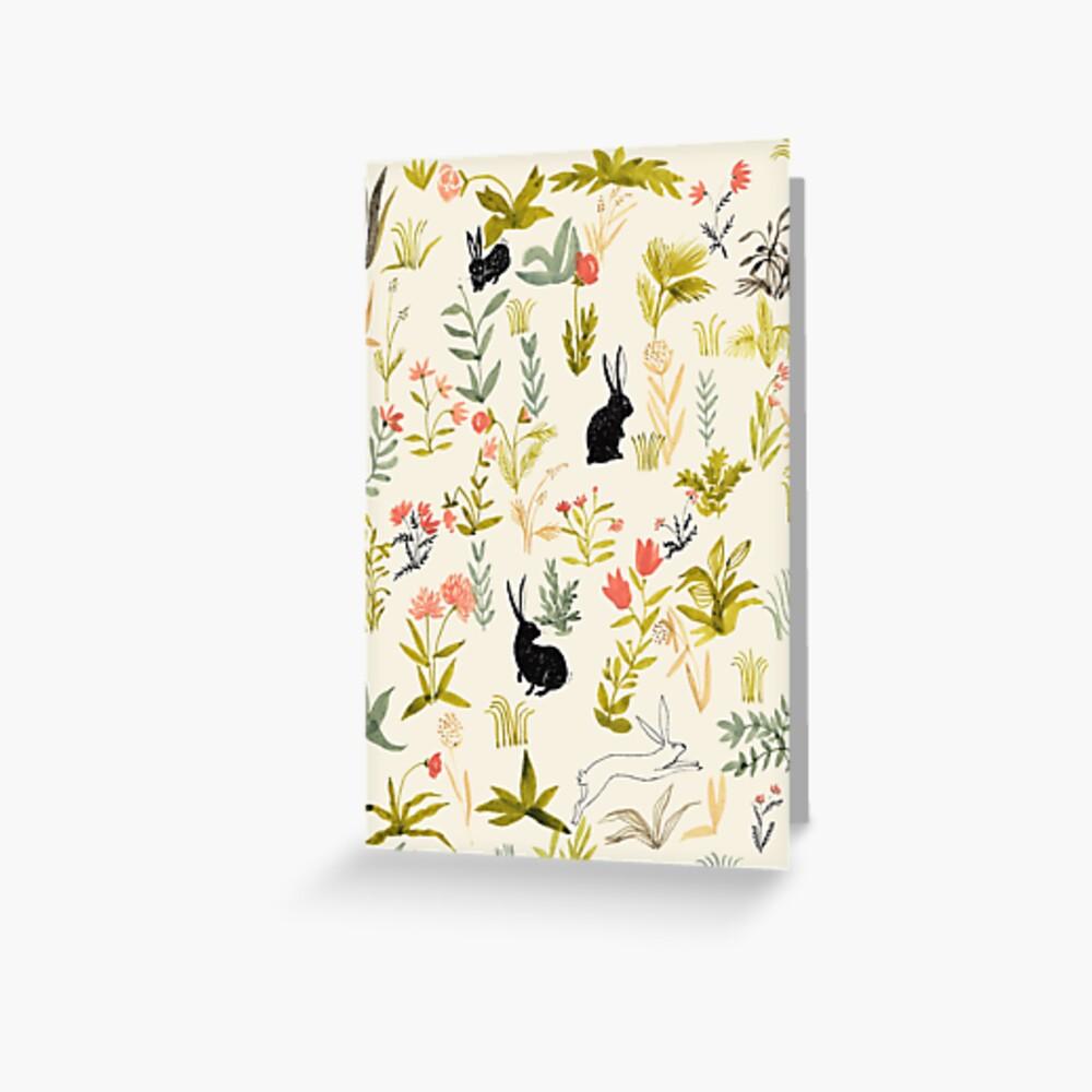 flowers pattern  with little black rabbits  Greeting Card
