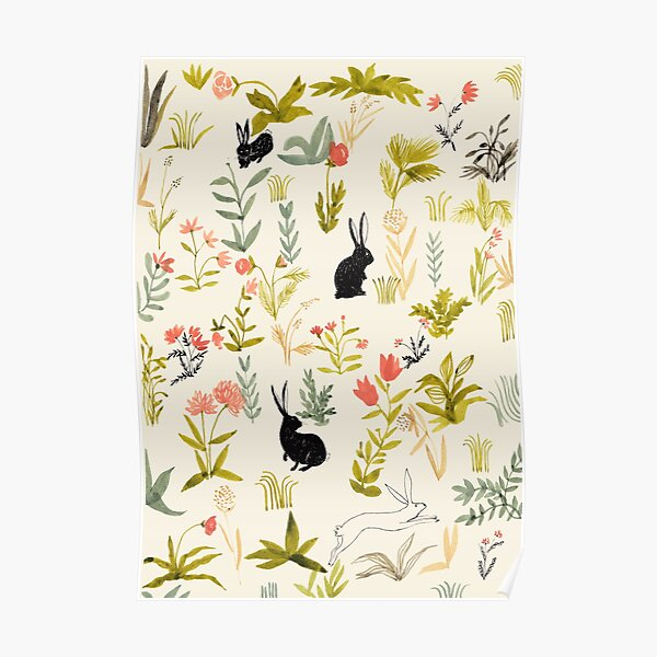 flowers pattern  with little black rabbits  Poster
