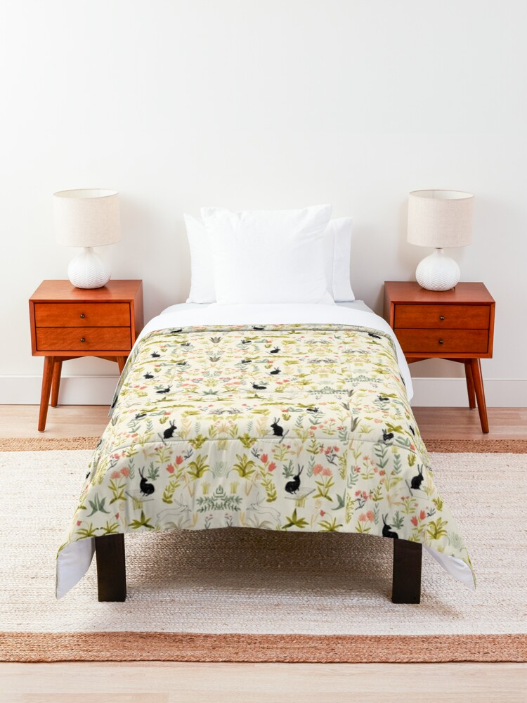 Alternate view of flowers pattern  with little black rabbits  Comforter