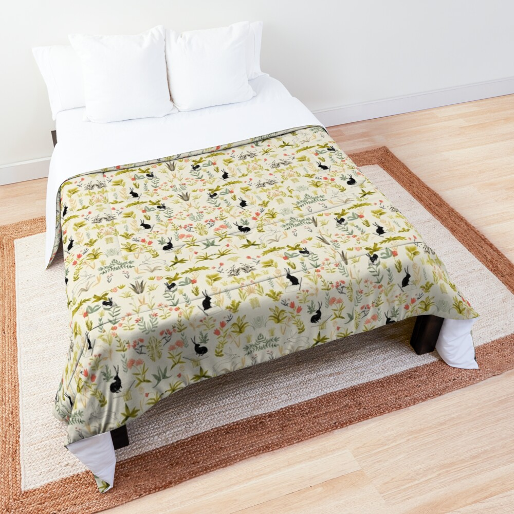 flowers pattern  with little black rabbits  Comforter