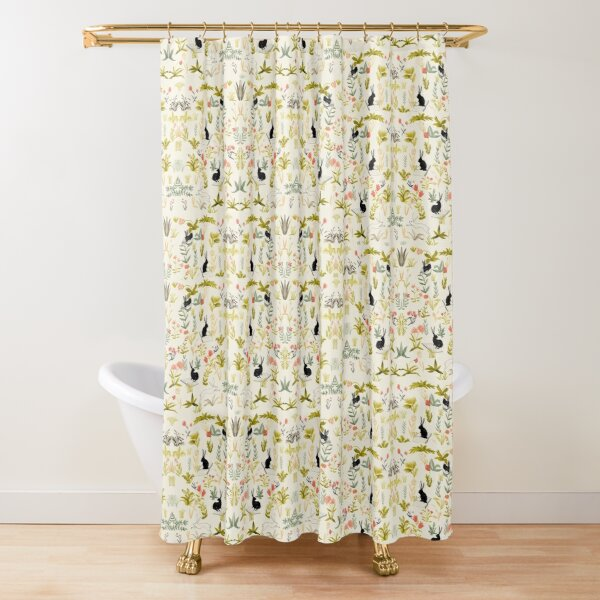 flowers pattern  with little black rabbits  Shower Curtain