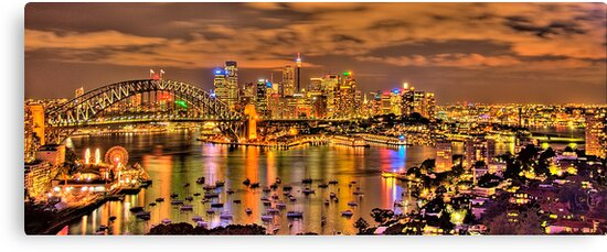 """""""Lights Camera Action"""" - Sydney Harbour - Moods Of A City - The HDR Experience by Philip Johnson"""