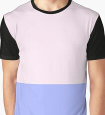 Pink and Blue Color Block Graphic T-Shirt