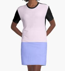 Pink and Blue Color Block Graphic T-Shirt Dress