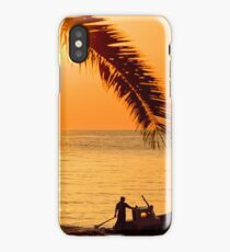 Boat at sea island Lesvos summer time iPhone Case/Skin