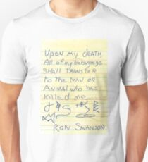Ron Swanson's Will T-Shirt