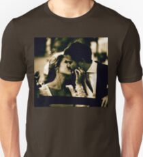 Bride and groom kissing in wedding marriage sepia 35mm film Unisex T-Shirt