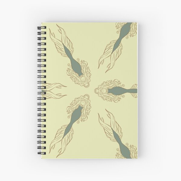 Mermaids Pattern in Green & Gold Spiral Notebook