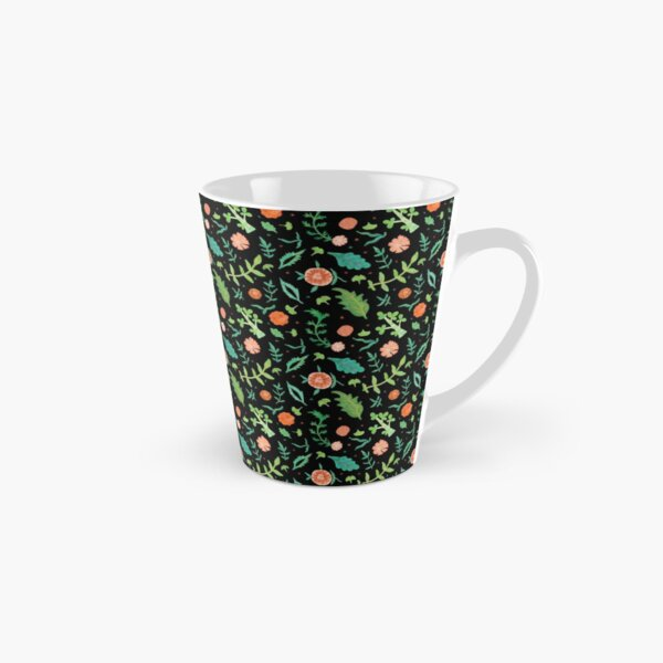 Black backdrop with flowers and leaves pattern Tall Mug
