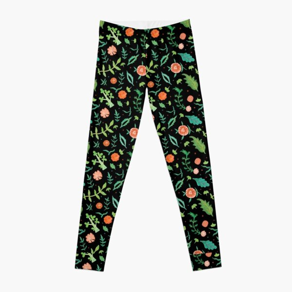 Black backdrop with flowers and leaves pattern Leggings