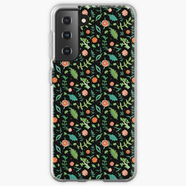 Black backdrop with flowers and leaves pattern Samsung Galaxy Soft Case
