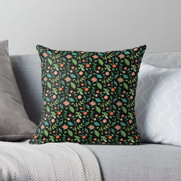 Black backdrop with flowers and leaves pattern Throw Pillow