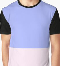 Blue and Pink Color Block Graphic T-Shirt