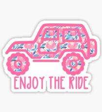 Blumenjeep (pink) Sticker