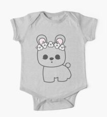 Cute Blanc de Hotot Bunny with Flower Crown: Grey Outline One Piece - Short Sleeve