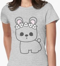 Cute Blanc de Hotot Bunny with Flower Crown: Grey Outline Women's Fitted T-Shirt