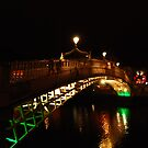 Ha'penny Bridge at night by Nancy Huenergardt