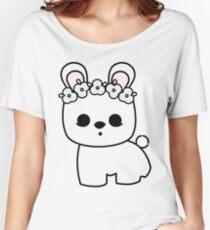 Cute Pet Bunny Blanc de Hotot with Flower Crown Original Women's Relaxed Fit T-Shirt