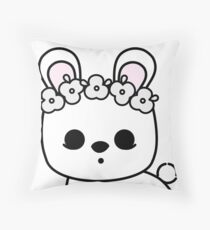 Cute Pet Bunny Blanc de Hotot with Flower Crown Original Throw Pillow