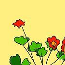 Flowers - 08 colored on Yellow Board by Istvan Ocztos