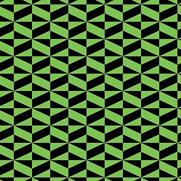 3D Effect Geometric Pattern - Green and Black Cubes Optical Illusion by FakeMirror