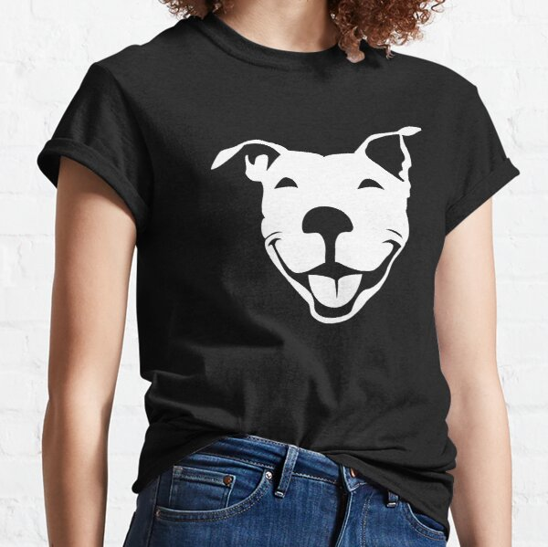 Smiling American Pit Bull Terrier  | NickerStickers on Redbubble Classic T-Shirt