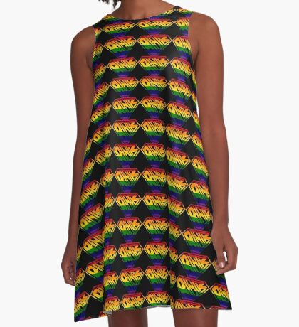 Black SuperEmpowered (Rainbow) A-Line Dress