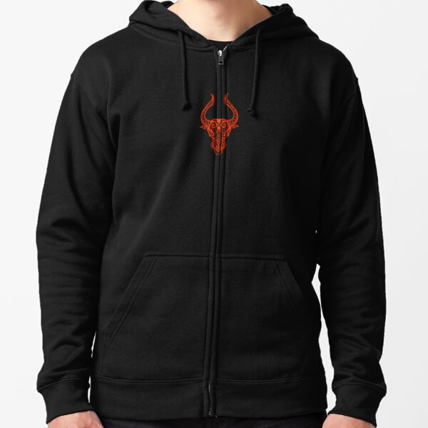 Red Taurus Zodiac Sign in the Stars Zipped Hoodie