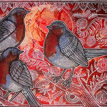 Three Robins by LynnetteShelley