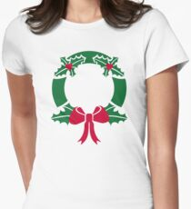 Wreath christmas Womens Fitted T-Shirt