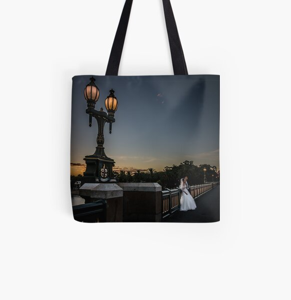 Young Married Couple on Princes Bridge, Melbourne  All Over Print Tote Bag