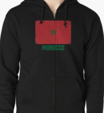 Sudadera con capucha y cremallera Bandera de Marruecos Ropa de Marruecos e1e8cc151a1d4