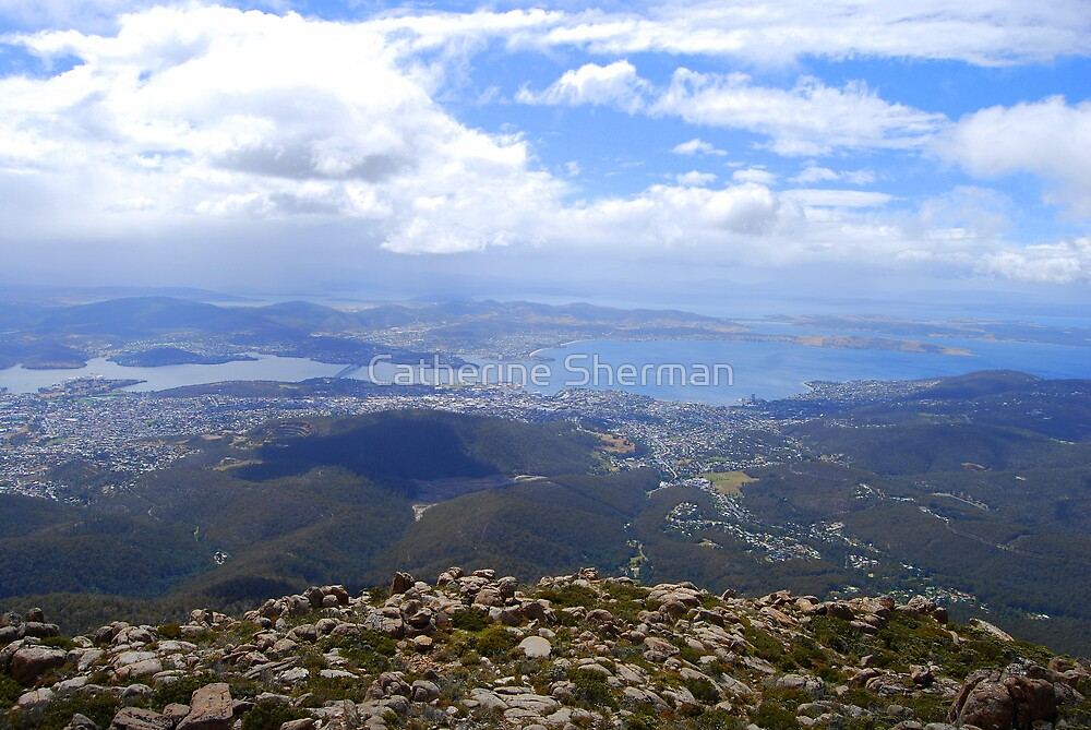 View from Mt. Wellington, Hobart, Tasmania, Australia. by Catherine Sherman