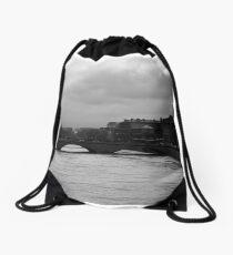 PARIS, SEINE RIVER BLACK AND WHITE Drawstring Bag