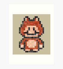 Super Mario Raccoon Vintage Pixels Art Print
