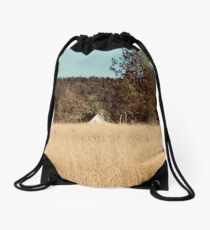 Wheat field near a forest in Libby Montana Drawstring Bag