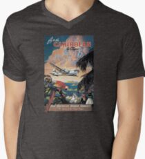 Fliegen Sie in die Karibik von Clipper Vintage Pan American Travel Poster T-Shirt mit V-Ausschnitt