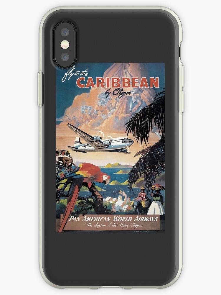 Fliegen Sie in die Karibik von Clipper Vintage Pan American Travel Poster von Framerkat